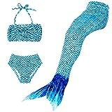 Superstar88 Meerjungfrau Badeanzug Mädchen Niedliche Meerjungfrau Kostüm 3pcs Bikini-Sets,Viele Schwimmflossen zur Auswahl,Das Beste Sommer Geschenke für Kinder! (110, Blau)