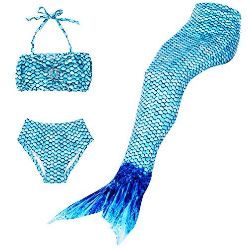Superstar88 Meerjungfrau Badeanzug Mädchen Niedliche Meerjungfrau Kostüm 3pcs Bikini-Sets,viele Schwimmflossen zur Auswahl,das Beste Sommer Geschenke für Kinder! (120, Blau)