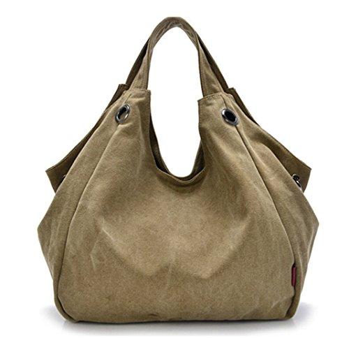 Tiny-Pure Color Damen Vintage Simple Stil Canvas Tote Handtasche Hobo Schultertasche Umhängetasche, - Khaki - Größe: (Double Zip Tote)