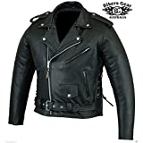 Australian Bikers Gear Men's Classic Leather Brando Motorcycle Punk Jacket