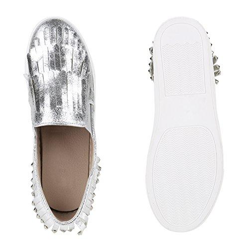 Damen Sneakers Slip-ons Lack Glitzer Metallic Slipper Schuhe Silber Nieten Fransen