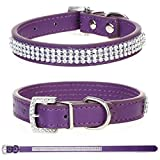 Purple Small Pet Collar with Rhinestones for Dogs and Cats - PU Leather Band with Diamante Crystals - Fancy Animal Accessories with Fake Gem Stone Decoration and Buckle Closure
