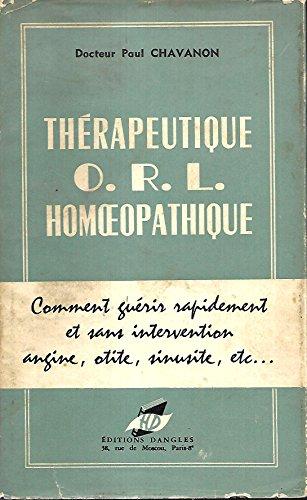 Thérapeutique ORL homéopathique par Paul Chavanon