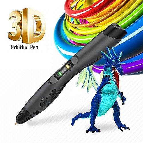 3D Pen Kinder etwas Kritzeln 3D Ausdruck Pen Bleistift Drucker Intelligente ABS PCL PLA Filament Refills Best Geschenk für Teenager und Kinder, schwarz Farbe