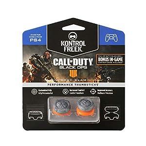 KontrolFreek Call of Duty: Black Ops 4 Grav Slam für PlayStation 4 (PS4) Controller | Performance Thumbsticks | 1 x Hoch Konvex, 1 x Mittel Konvex | Grau/Orange