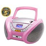 Lauson Radio CD Portatile USB | Lettore Cd Bambini | Stereo Radio FM | Boombox | CD/MP3 Player | AUX IN | LCD-Display | CP448 (Rosa)