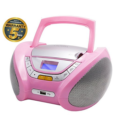 CD-Player | Tragbares Stereo Radio | Kinder Radio | Stereo Radio | Stereoanlage | USB | CD / MP3 Player | Radio | Kopfhöreranschluss | AUX IN | LCD-Display | Batterie sowie Strombetrieb | CP448 (Rose)