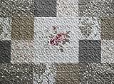 Unbekannt Romantische Steppdecke Tagesdecke Plaid Bettüberwurf Patchwork 140 x 200 cm - Offwhite/grau / braun - Shabby Chic Landhaus