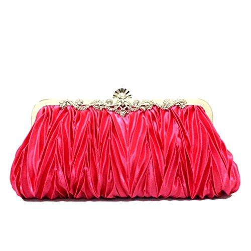 ERGEOB® Donna Clutch sacchetto di sera borsetta Clutch piccola rasotaschino Banchetto taschino matrimonio taschino Borsa della sposa fucsia