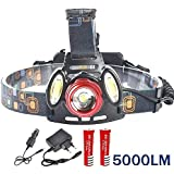 ASkyl 5000 Lumen headlamp Rechargeable Led Head Flashlight T6+2* COB LED Camping Trekking Caving Hiking Reading Running