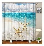 XIAOXINYUAN Seestern Seestern Shell Polyester Duschvorhang 3D Digitaldruck Wasserdicht und Schimmel Bad Vorhang Zubehör 180×180Cm