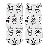 NANAYOUPIN Las Nuevas Temporadas De Moda De Algodón Transpirable Medias Medias Cómodas (5 Pares) Lindo Panda Impreso 3D Calcetines Cortos De Algodón para Mujeres Animal Panda Oso Calcetines