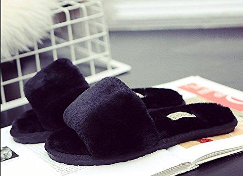 TELLW Cotone Pantofole Uomo e Donna Autunno e Inverno Indoor Soft Plush Pavimenti in Legno Pantofole Tappeto Pantofole Rosa