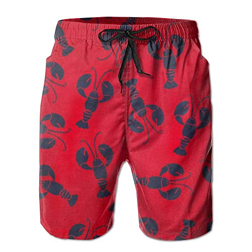 sexy world Lobster Red Pattern Mens Summer Quick Dry Swim Trunks Beach Board Cargo Shorts X-Large -