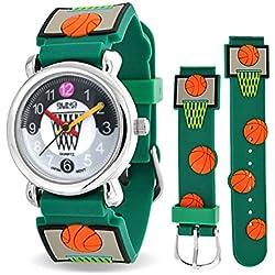 Bling Jewelry Reloj Verde Analógico de Deporte para Niños Acero Inoxidable con Diseños de Baloncesto