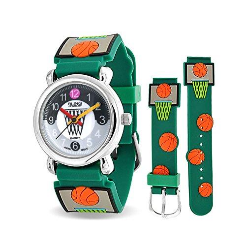 Bling Jewelry Green Basketball hoop Sport Kids guardare retro in acciaio inossidabile