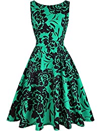 ihot Women's Vintage 1950s Classy Rockabilly Retro Floral Pattern Print Cocktail Evening Swing Party Dress