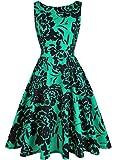 OWIN Women's Vintage 1950's Floral Spring Garden Picnic Dress Party Cocktail Dress (S, Green&Black)