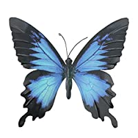 Primus Large Blue & Black Metal Garden Butterfly Wall Art for Outdoor Fences Sheds Walls from Primus