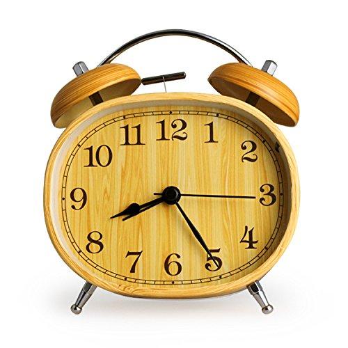 LXh.Cn 4.5Inch Mute anello doppio anello l'Pigri metallico studenti allarme dono l'emulazione del Wood-Grain Retro-Jong,4.5Inch (Doppio Tempo Cronografo)