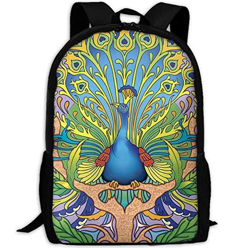 best& Art Nouveau Peacock Casual Laptop Backpack School Bag Shoulder Bag Travel Daypack Handbag