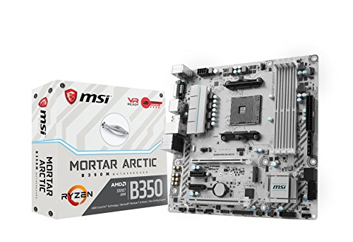 Price comparison product image MSI AMD AM4 B350M Mortar Arctic Ryzen 7th Gen DDR4 VR m.2 Audio Lan LED Micro ATX Motherboard - Black