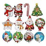 12 Stück Weihnachtsbaum Stern Weihnachtsmann Schneemann Bell Folienballons, Xmas Party Dekoration aufblasbare Luftballons, Heliumballons für Geburtstag Hochzeit Baby Shower Party Weihnachten liefert