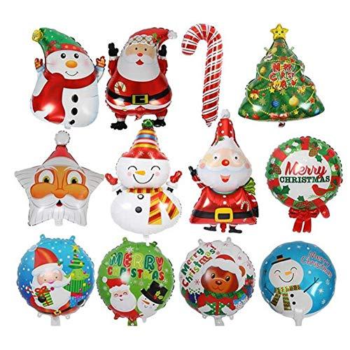 12 Stück Weihnachtsbaum Stern Weihnachtsmann Schneemann Bell Folienballons, Xmas Party Dekoration aufblasbare Luftballons, Heliumballons für Geburtstag Hochzeit Baby Shower Party Weihnachten liefert -
