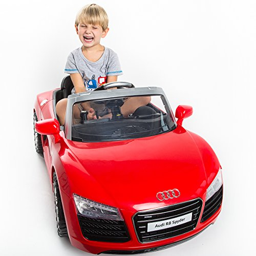 COSTWAY Audi R8 Spyder Elektroauto Kinderauto Kinderfahrzeug Roadster 12V Fernbedienung (Rot)