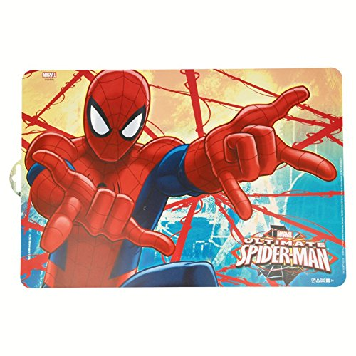 Stor, 33419, Set de table Spiderman Red webs. Nappe de plástico. sans BPA.
