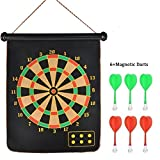#4: Cartup Double Faced Portable Foldable Magnetic Dart Game with 6 Colourful Non Pointed Darts (15 inch)