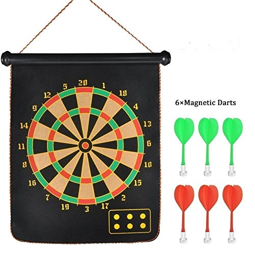 Cartup Double Faced Portable Foldable Magnetic Dart Game with 6 Colourful Non Pointed Darts (15 inch)