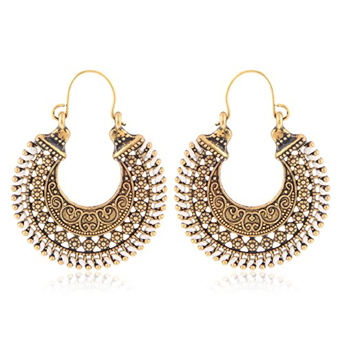 Tiaraz Women's Alloy Traditional Earrings(White)