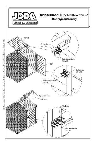 "JODA Anbaumodul inkl. Rückwand ""DINO"" 74x85x115/131cm Mülltonnenbox Müll - 3"