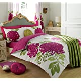 3Pc Kew White Fuchsia Duvet Quilt Cover with Pillow Cases Bedding Set in Size King ALL NEW