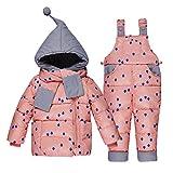 LSERVER-unisex bambino bambini di 3 pezzi snowsuit con cappuccio giubbotto imbottito fototecnica sci pantaloni set,1-3 anni