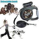 PerGrate Retractable Hundeleine für mittlere große Hunde Ein Knopf Break & Lock mit LED-Taschenlampe