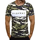 Schlank Camouflage Druck T-Shirt Herren Sommer Kurzarm Top Lässige Bluse GreatestPAK,Grün,XXL