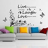 Wandtattoo 'Live Laugh Laugh' Aufschrift mit Tanzenden Schmetterlingen Baumzweigen Lebhafte Gemischte Farben