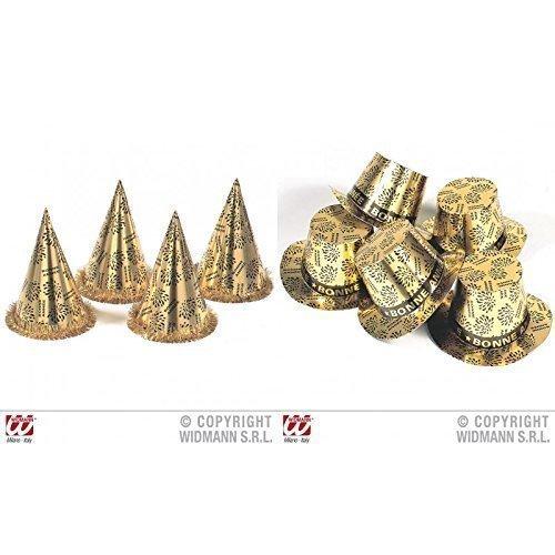 Lively Moments Goldfarbene Partyhüte / Silvesterhüte / Silvesterdeko je 1 Zylinder und 1 Kegel - Bonne Année