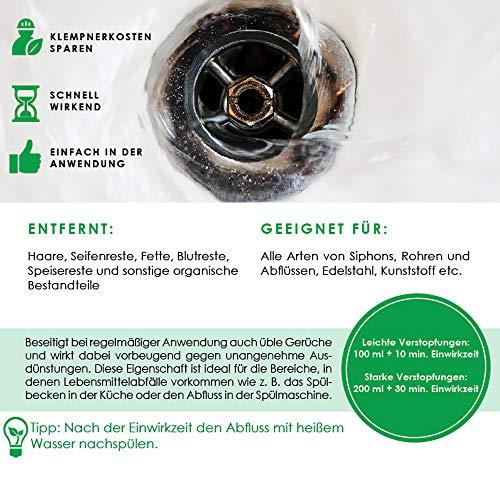 bio-chem® HAAR-WEG Abfluss-Frei | 1000 ml | Abflussreiniger | Rohrreiniger | Rohrreinigung | Rohrfrei | Abflussrohr | Geruchskiller | Entfernt und löst hartnäckigste, organische Verstopfungen - 3