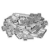 sourcingmap® 0,12 pollici (3mm) diametro fune manicotti in alluminio Clip cavo raccordi crimpature 100pz