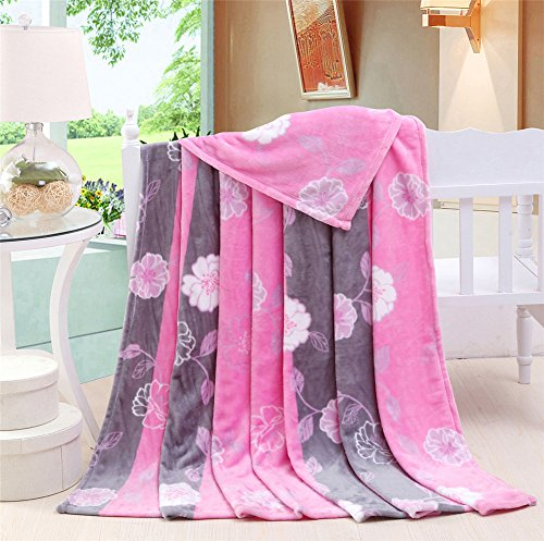 Zhiyuan Blumenmuster Weiche und Warme Flanell-Bettdecke Leichte Couchdecke Rosa 150x200cm