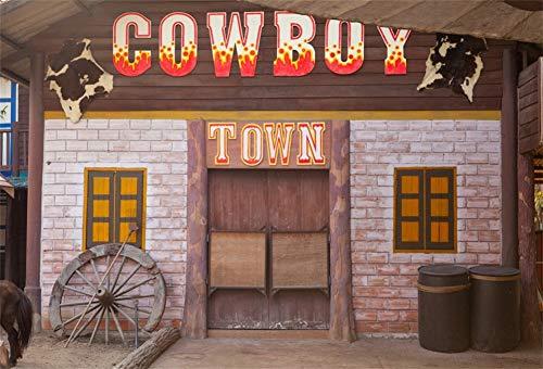 Saloon Fotohintergrund Cowboy Stadt Banner Western Town Ziegelwand Rad Fass Fotoleinwand Hintergrund für Fotoshoot Fotostudio Requisiten Party Photo Booth ()