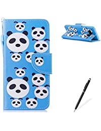 MAGQI Samasung Galaxy Note 8 PU Premium Leather Phone Cases, Flowers Panda Unicorn Cartoon Pattern Design Cover and [Scratch Proof] Flexible For Samasung Galaxy Note 8 Flip Wallet Shell-Cute Panda