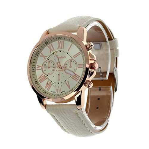 Valentinstag Uhren Dellin Neue Damenmode Genf römischen Ziffern Kunstleder analoge Quarz-Armbanduhr (Beige)