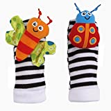 #8: Kuhu Creations® Cute & Stylish Soft Baby Rattles. (2 Units, Style D: Multicolor 2 Foot Rattle)
