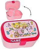 alles-meine.de GmbH Lunchbox / Brotdose -  Schule ABC - Mädchen  - Incl. Name - mit Extra Einsat..