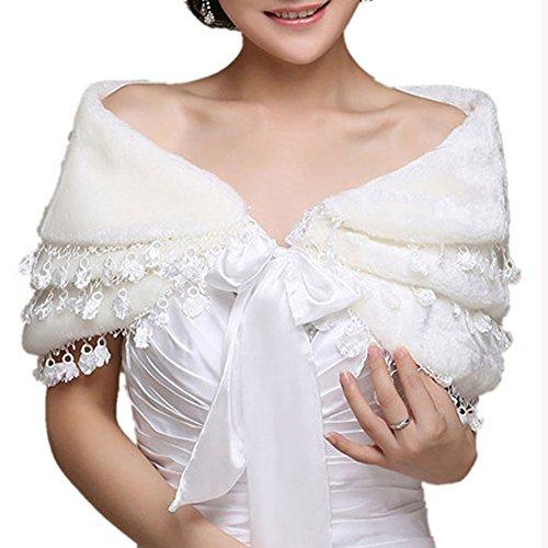 Insun Damen Brautzusatz Elfenbein Kunstpelz Hochzeit Braut Schal Brautschal Brautjacke Cape Gebrochenes Weiß