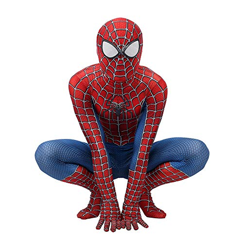 Spiderman Kostüm Kinder Erwachsener Cosplay Kostüm Superhelden Halloween Onesies Mottoparty Karneval Strumpfhosen Kostümball Prop,Adult-XL